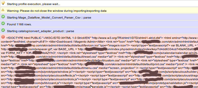 magento product import error