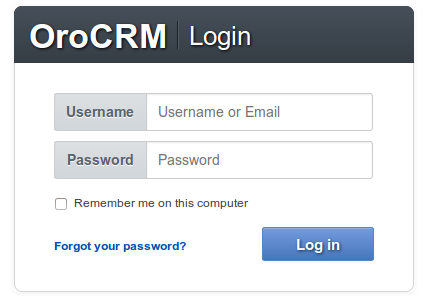 OroCRM login - installation guide